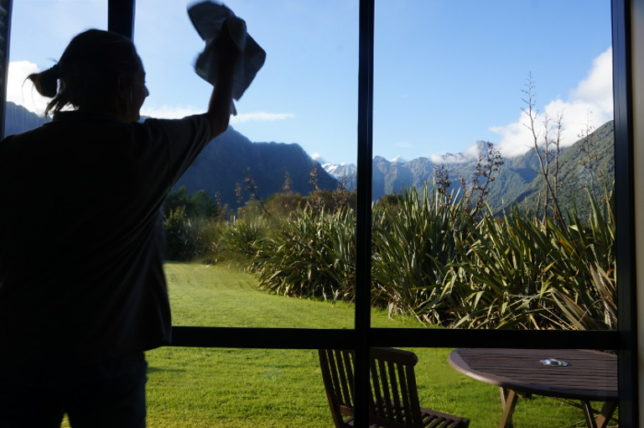 cleaning windows with good view