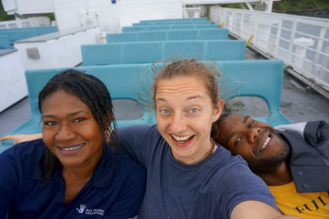 Arrival on Koro. Selfie with Ma and Samu.
