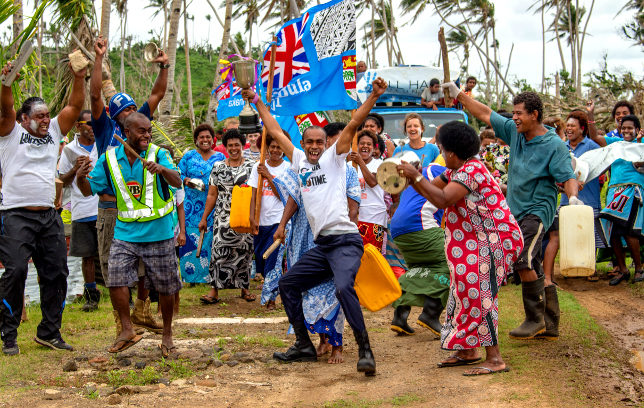 Celebrations after Fiji's olympic gold.