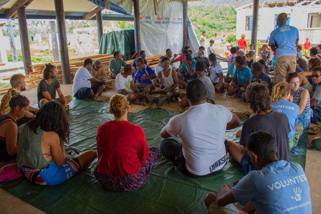 Kava circle in Nasau village to honour the success of the rugby team.