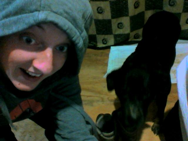 Dog and me in my room.