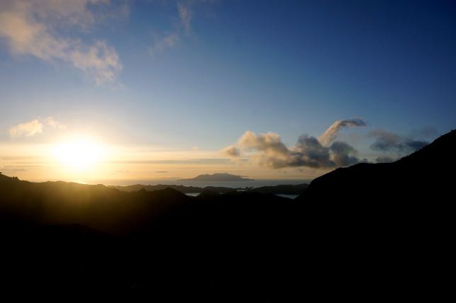 Sunset at Mount Heal Hut.