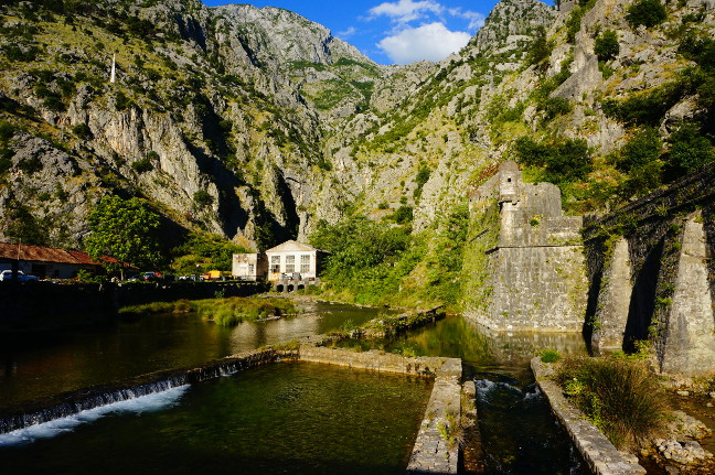 Citywalls and moat around Kotor oldtown.