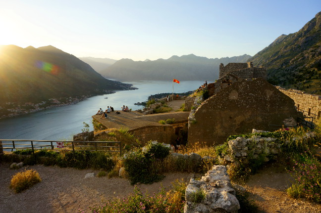 Sunset at the Fortress in Kotor.